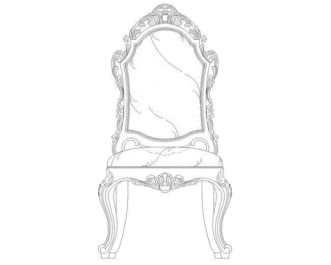 古典欧式椅子手绘图
