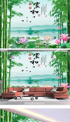 家和富贵竹子山水情壁画背景墙
