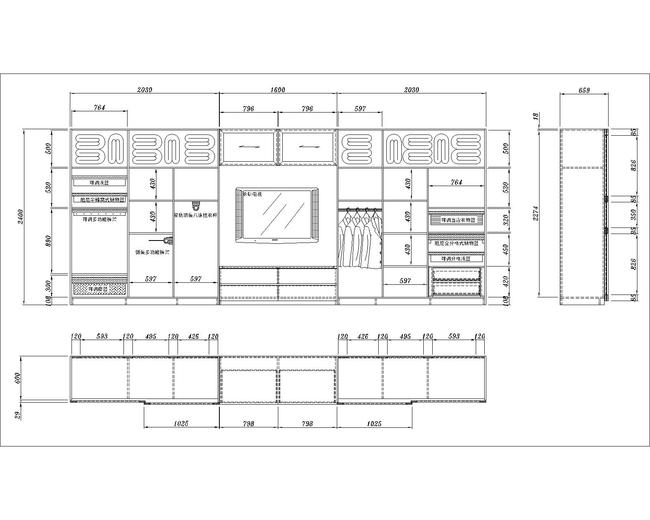 中式书柜cad图纸平面设计图下载(图片1.35mb)_柜子_全图片