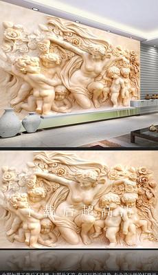 高清豪华别墅欧式天使丘比特浮雕电视背景墙