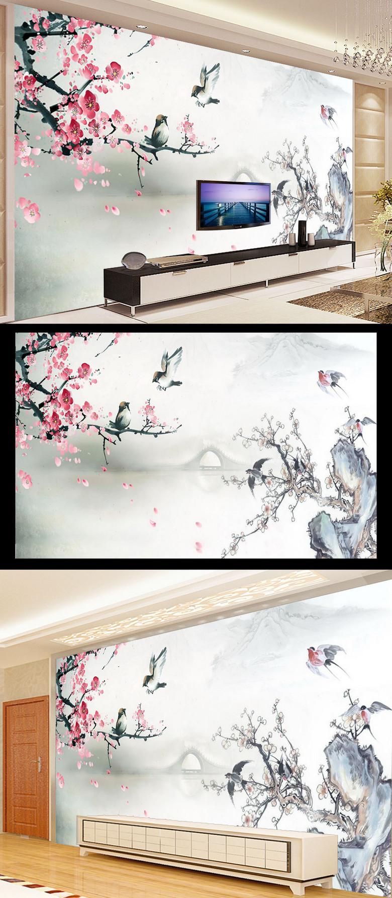 山水花鸟画客厅电视背景墙装饰模板效果图 12686360 客厅电视背景墙