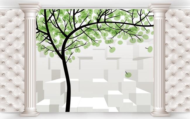 3d壁画手绘树