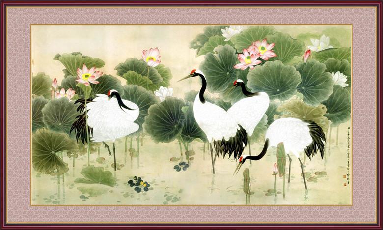 仙鹤荷花 12818125 山水风景画