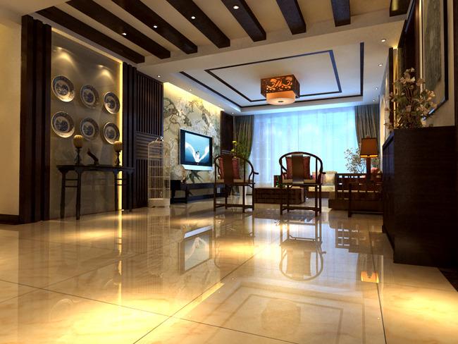 原创3d新中式客厅效果图模型中式餐厅模型