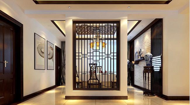 3d新中式客厅效果图模型中式餐厅模型