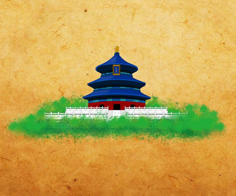 北京天坛手绘图 12836228 旅游海报