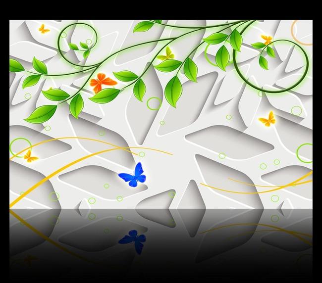 3d立体绿藤背景墙图片设计素材_高清模板下载(13.25mb