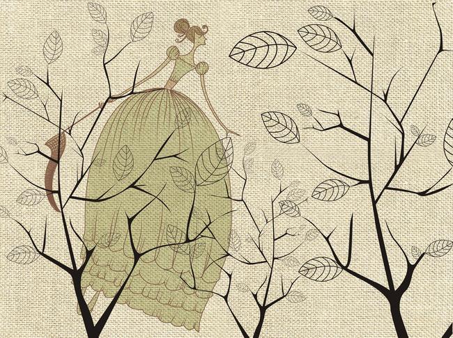 手绘花鸟图小女孩