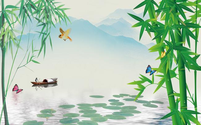 山水风景画竹子壁画电视背景墙装饰画