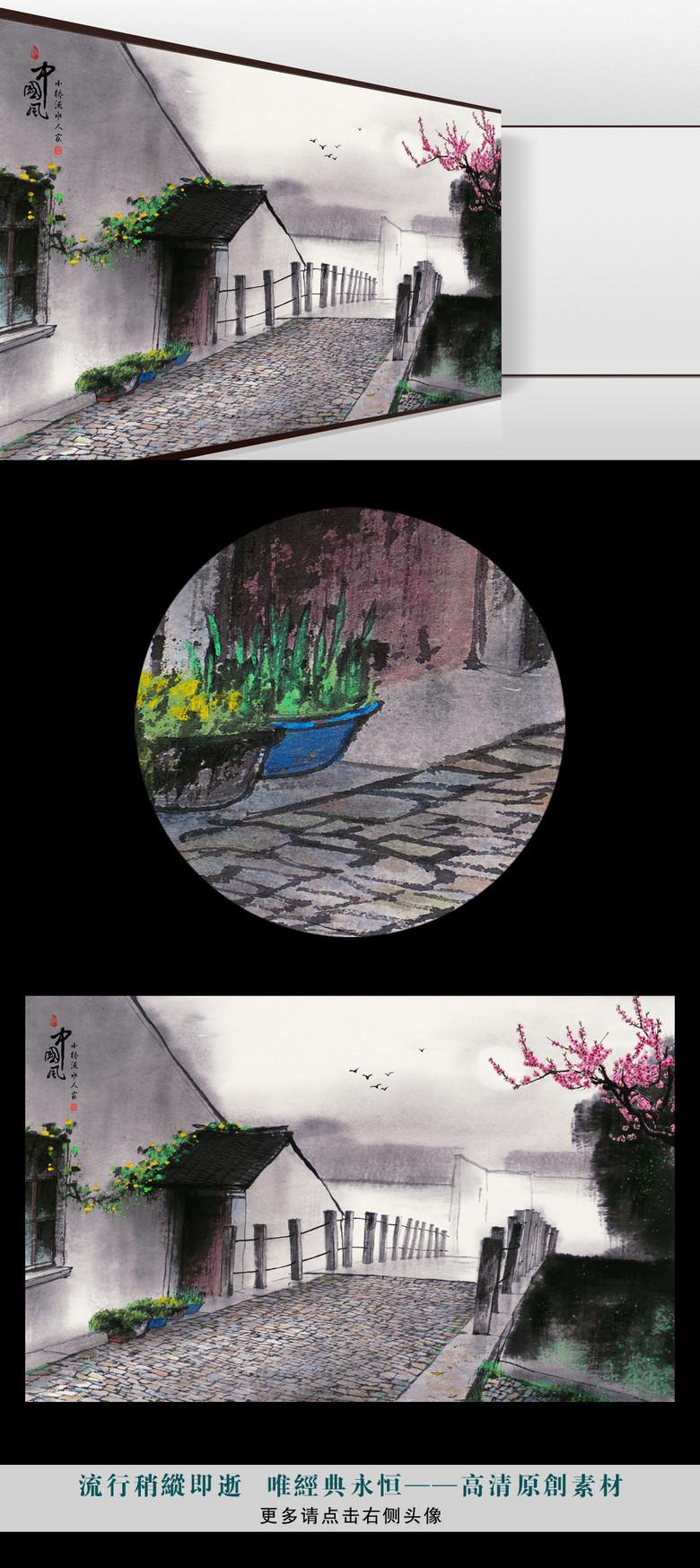 江南春水墨丹青桃花燕子人家古风背景墙图片