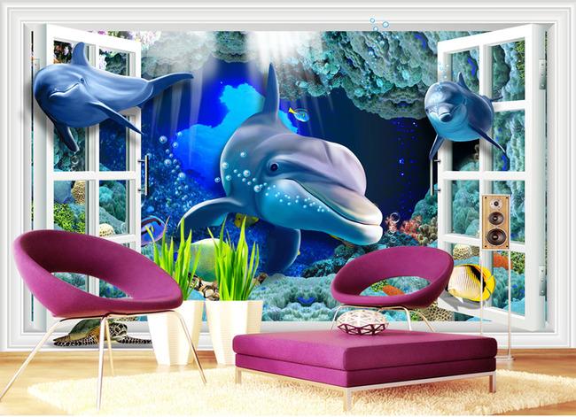 背景墙|装饰画 电视背景墙 3d电视背景墙 > 海底世界3d立体海豚电视