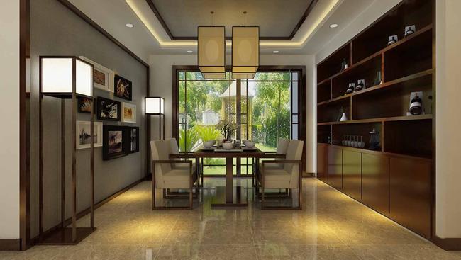 3d中式家装效果图模型3d客厅餐厅走廊图片