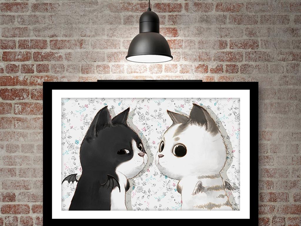 卡通可爱黑白猫咪装饰画
