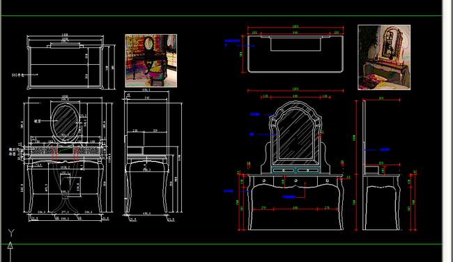 梳妆台cad平面设计图下载(图片52.20mb)_柜子图纸大全