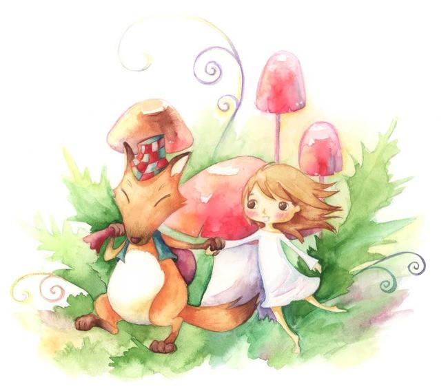 小狐狸韩国儿童手绘插画素材图片