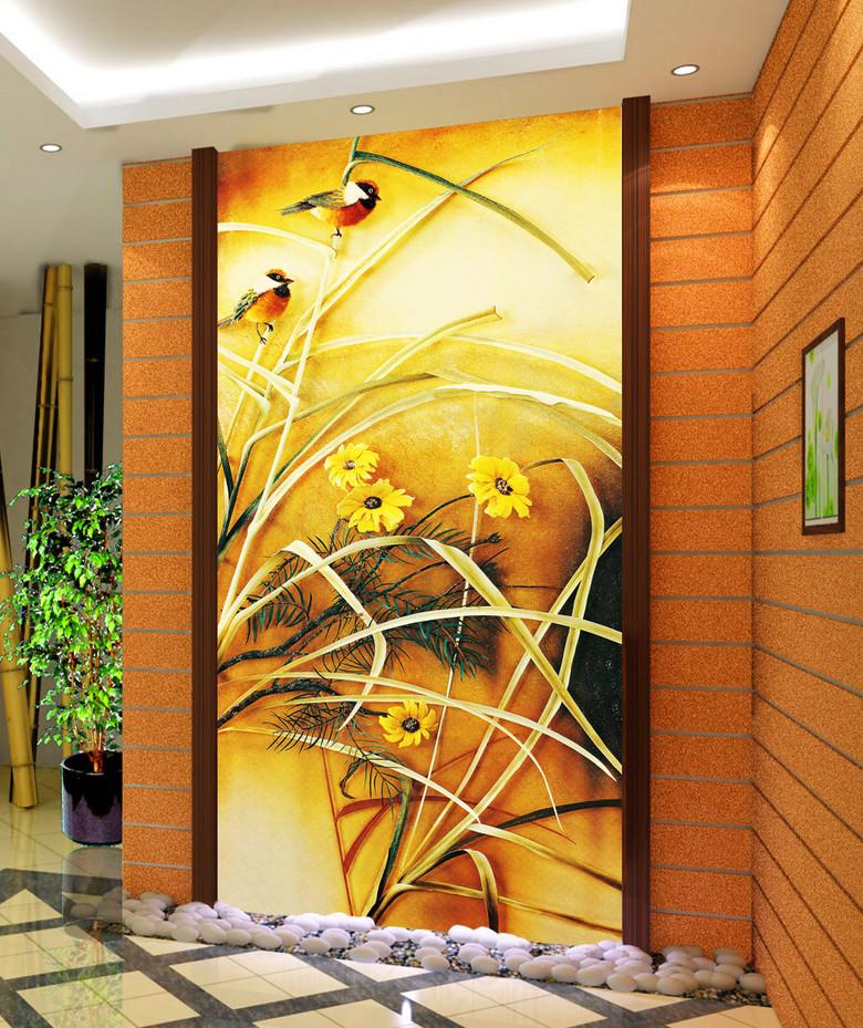 3d立体花鸟图画玄关门厅过道壁画装饰画图片