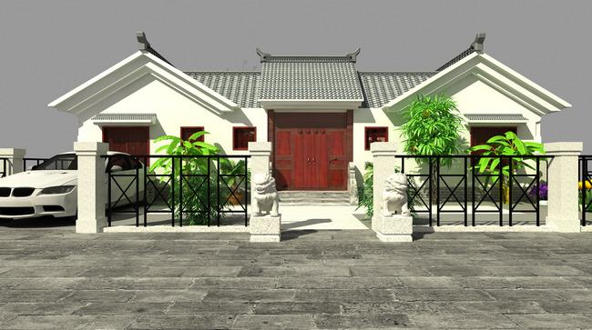 3d中式四合院室外建筑效果图模型图片