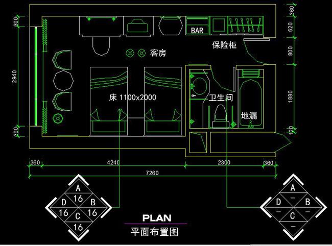 cad宾馆卫生间施工图天棚布置图平面立面