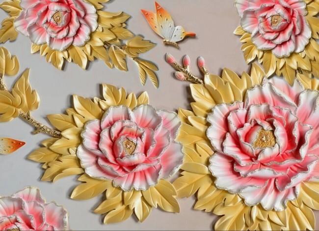 3d浮雕立体牡丹花电视背景墙壁画设计(图片编号:)_墙