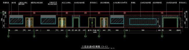 cad办公楼走廊施工图平面图立面图天棚图