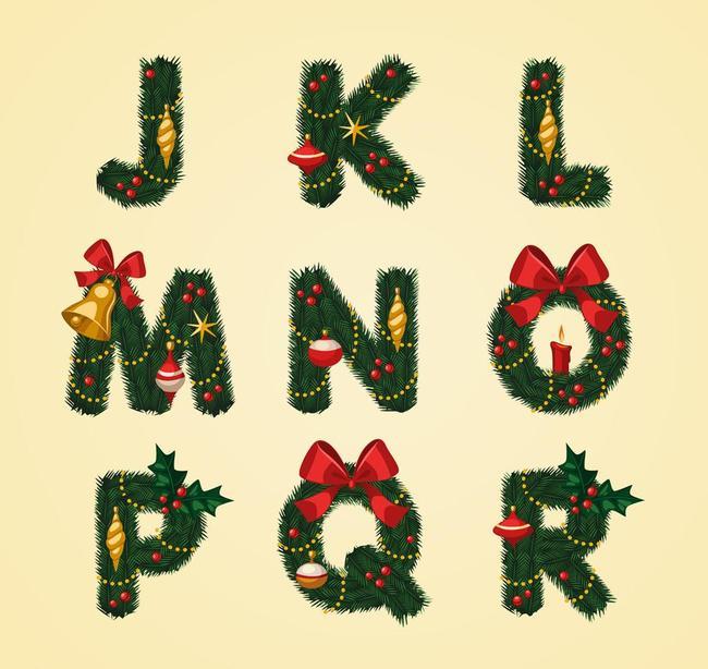 26个英文字母字体设计圣诞元素图片