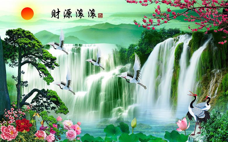 财源滚滚迎客松梅花山水风景画图片
