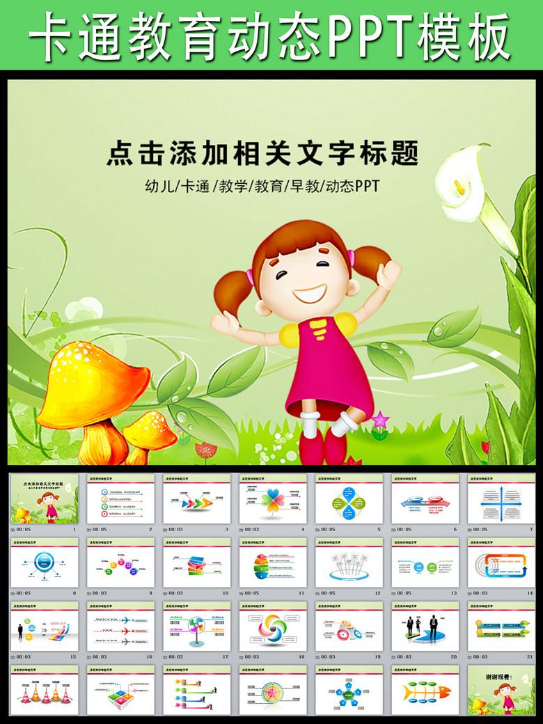 卡通教育培训幼儿园背景墙动态PPT模板