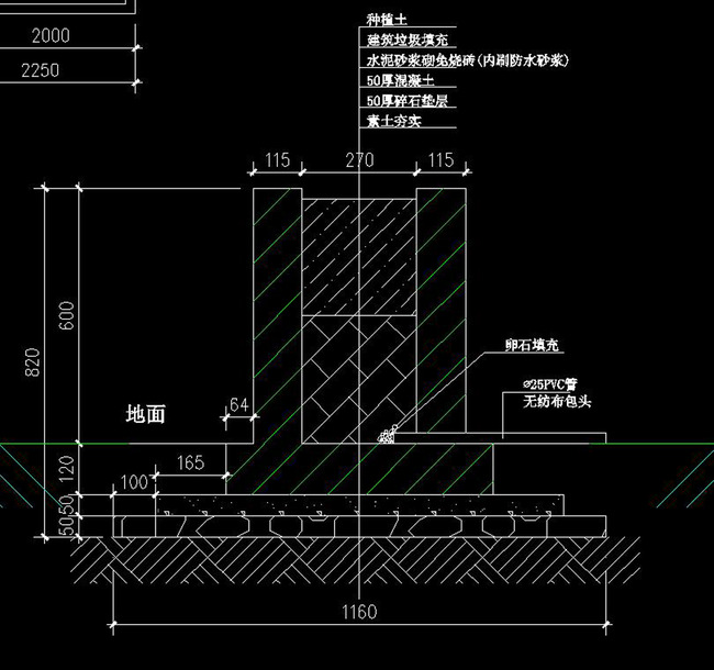 cad图库 建筑cad图纸 其他 > cad围墙栏杆建筑庭院施工图节点剖面图