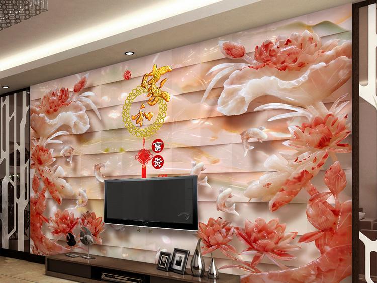 极品立体玉雕荷花3D电视背景墙装饰画