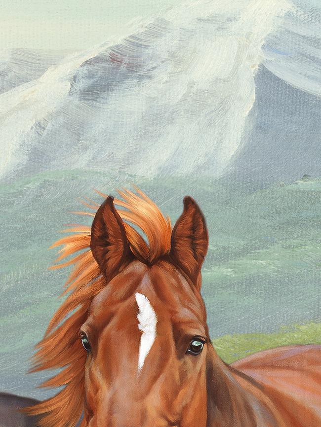 八骏马盛世油画风景高清图图片