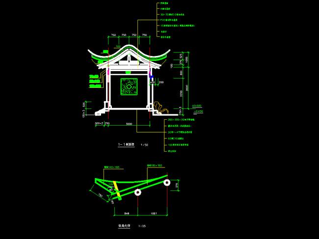 建筑设计 cad图纸  其他图纸 > 古式寺庙庭院设计cad全套  版权图片