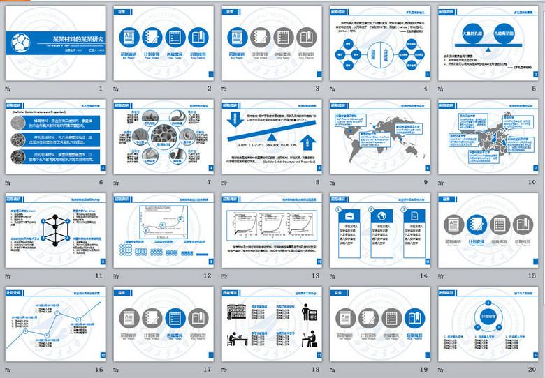 态蓝色化工科研项目汇报PPT模板