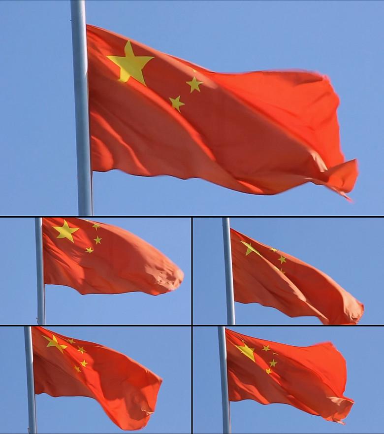 高清中国国旗飘扬动态视频素材