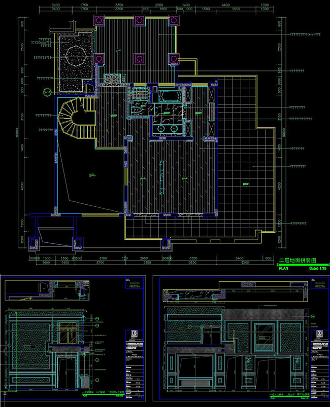 cad保利国际别墅施工图水电插座立面图