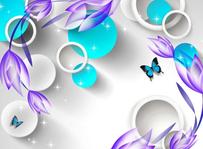 原创手绘3d透明花背景墙图片设计素材_高清psd模板(63