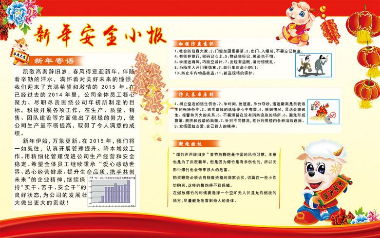 2015羊年新年春节安全知识宣传栏手抄报图片下载psd素材 其他
