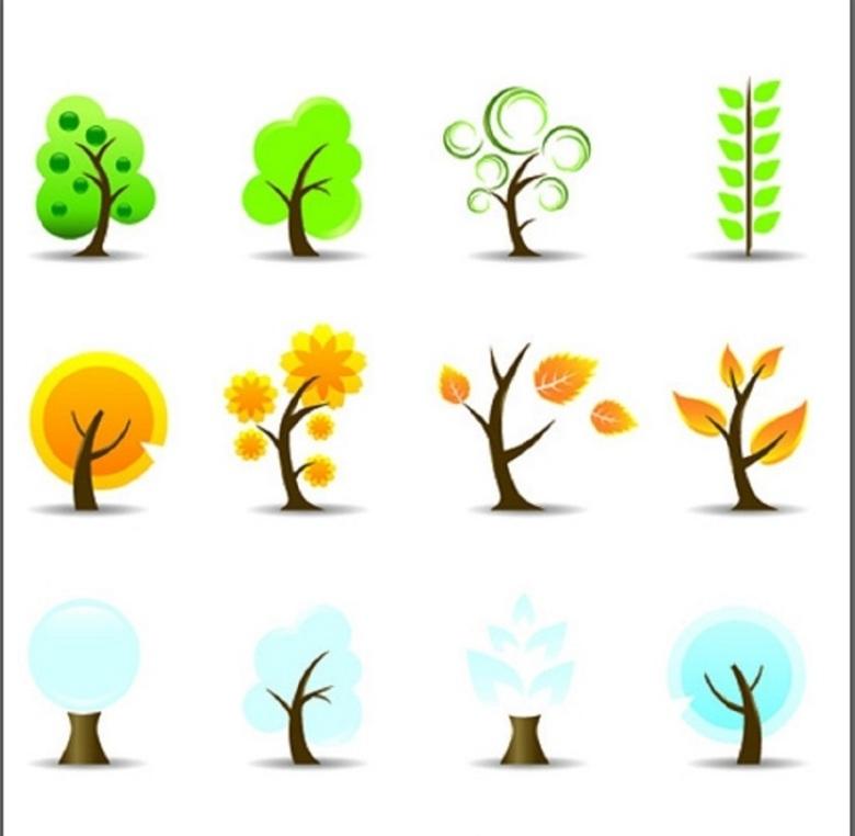 卡通春天秋天小树主题icon素材图片