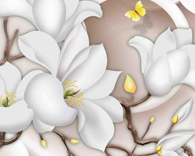 原创纯手绘3d彩雕玉兰花背景墙
