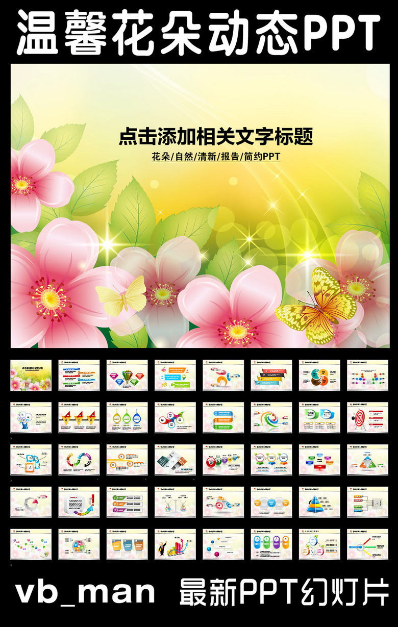 女性花朵妇联迎春花会议报告PPT背景模板
