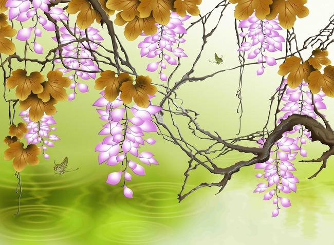 原创高清手绘彩雕紫藤花背景墙