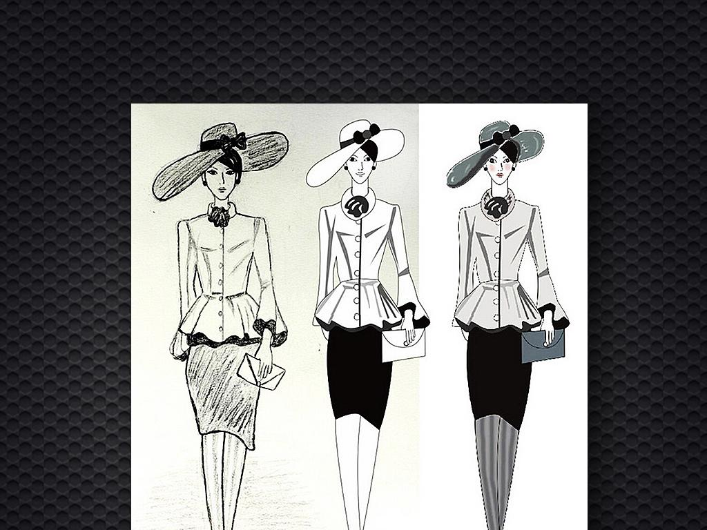 服装模特手绘图矢量素描水彩