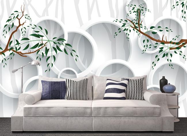 手绘树现代简约电视背景墙