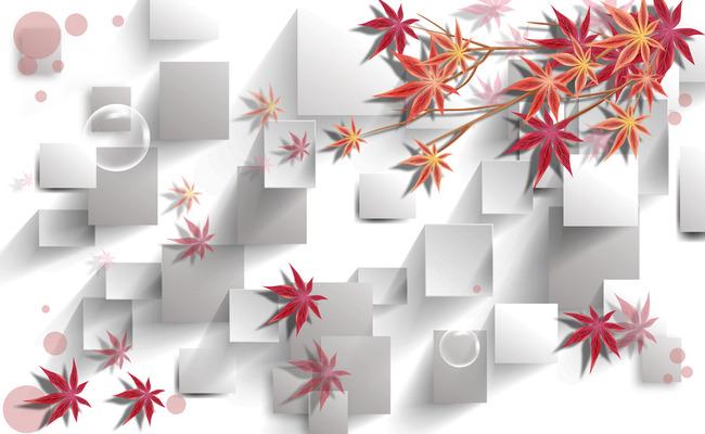 3d立体方块手绘枫叶壁画背景墙