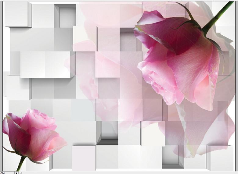 背景墙定制壁纸花语瓷砖玫瑰花藤