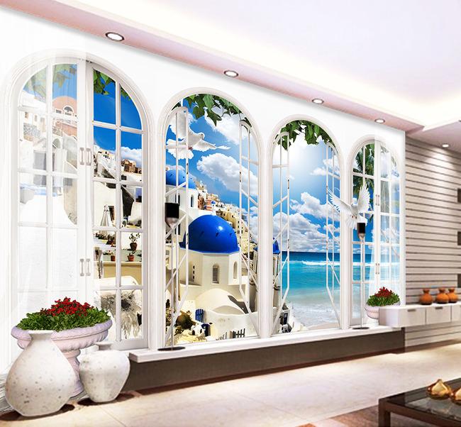 欧式拱门地中海风景3d背景墙图片设计素材_高清psd(.图片