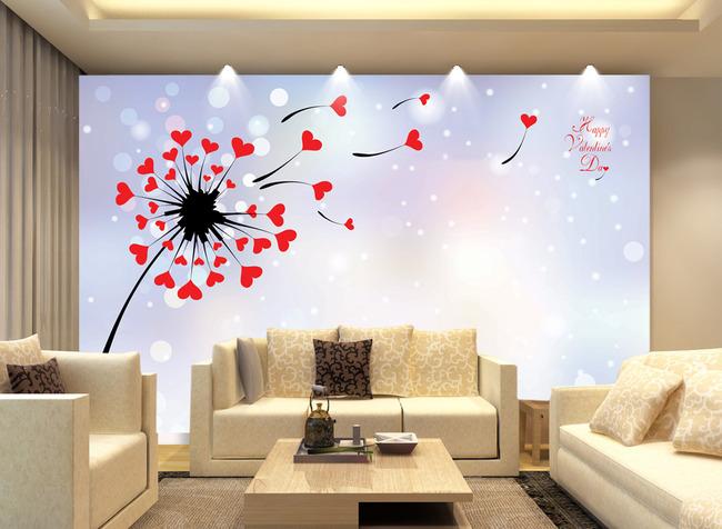 心形蒲公英卡通唯美电视背景墙