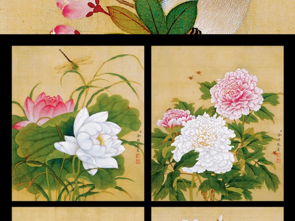 高清新中式工笔手绘国画花鸟无框画装饰