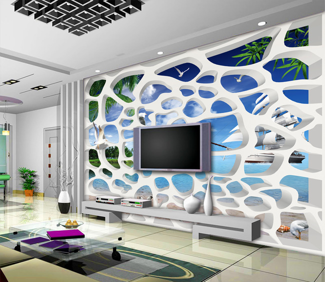 3d立体白色隔断蓝天白云大海电视背景墙