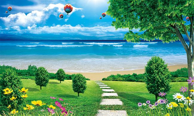 风景画蓝天白云树木花草风景壁画