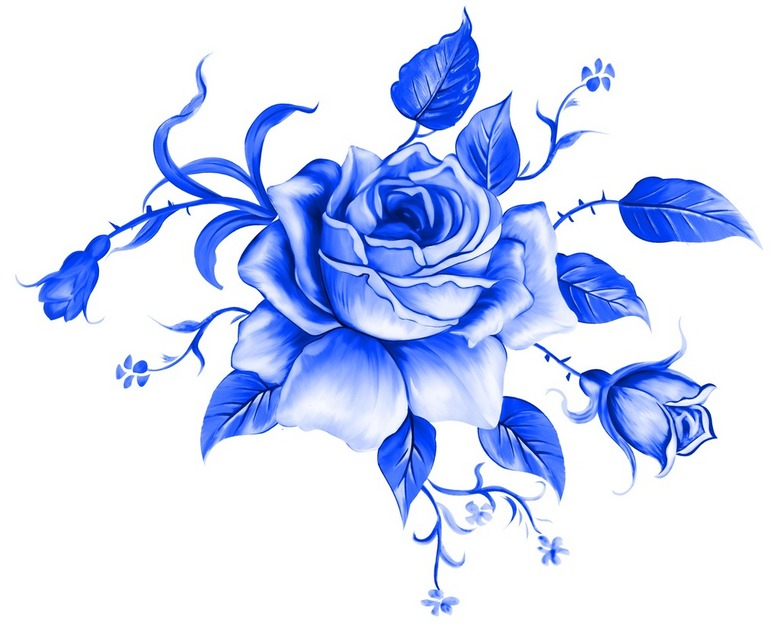 手绘青花瓷玫瑰花叶子psd素材